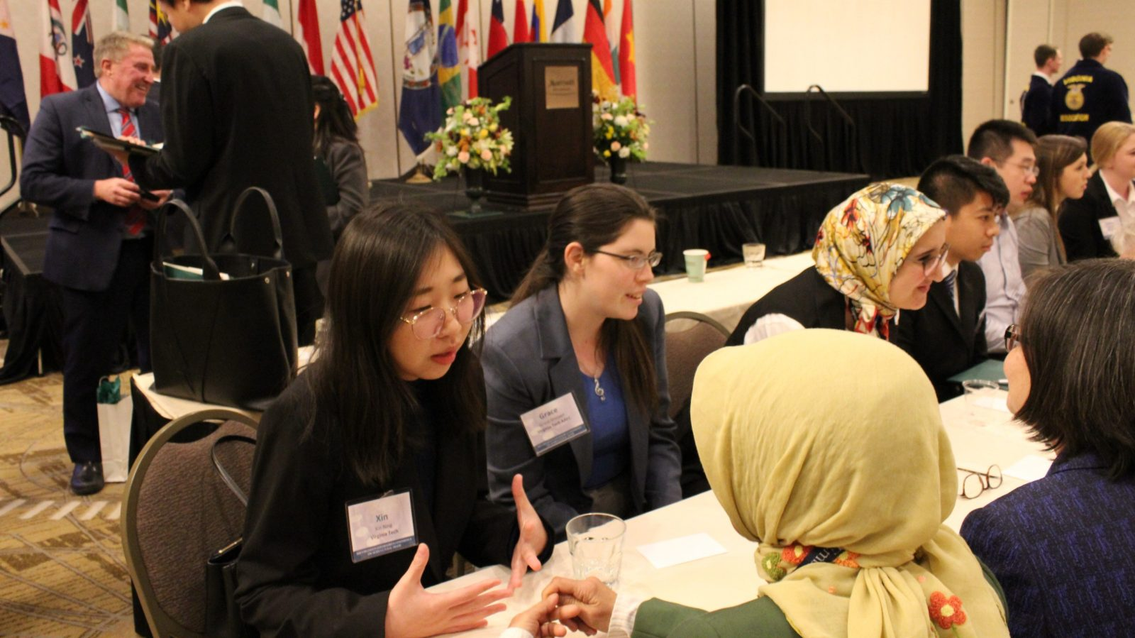 Students speak with trade representatives at the 10th annual Governor's Conference on Agricultural Trade.