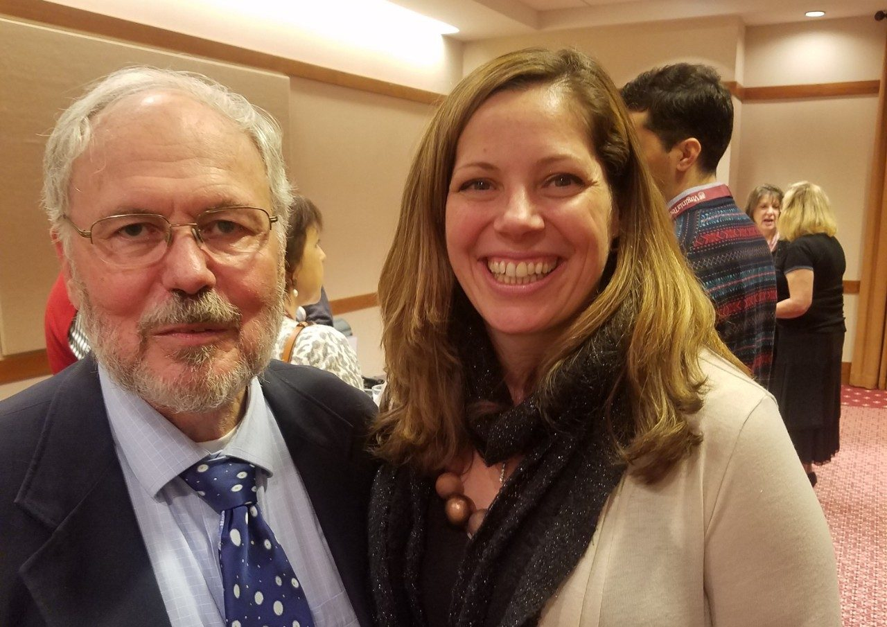 Leon Geyer at his retirement party with Dr. Erin Hopkins.