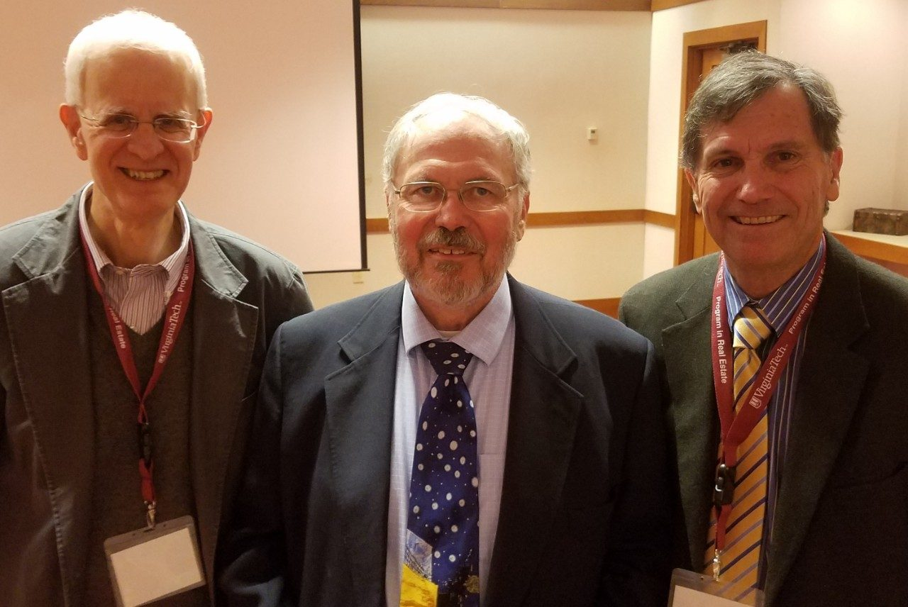 Leon Geyer at his retirement party with fellow colleagues and Minnesota graduates George Norton and Darrell Bosch.