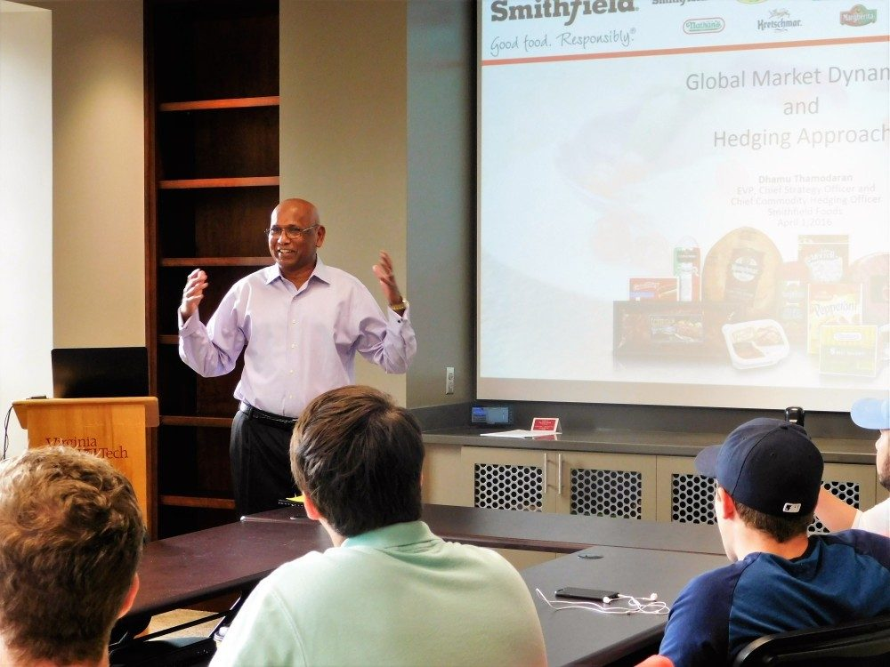 Smithfield Foods Representative speaks to students during a seminar on Domestic and International Risk Management.