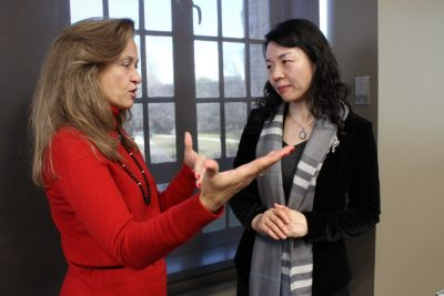 Karen Roberto, Director of the Institute for Society, Culture, and Environment speaks with Dean Jing Zhu.