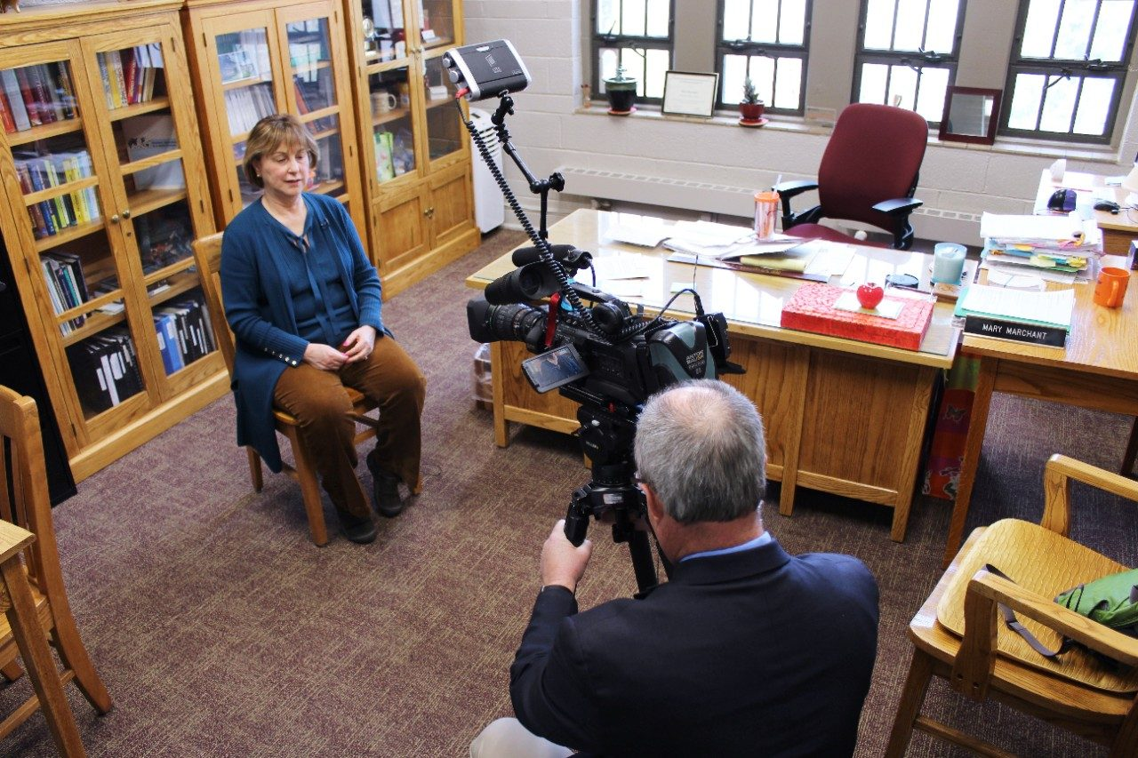 Mary Marchant interviews in her office with Joe Dashiell from WDBJ7.