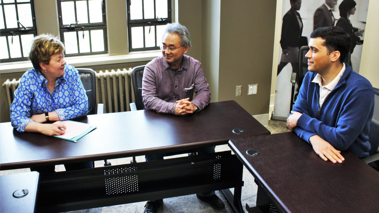Nagoya University Professor Tadashi Sonoda meets with Associate Professor Susan Chen and Assistant Professor Ford Ramsey.